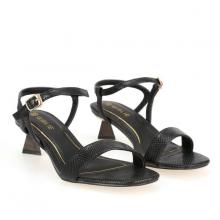 Giày sandals cao gót quai ngang Girlie S21030 màu đen