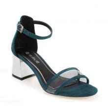 Giày sandals cao gót đế vuông quai trong Girlie S21024 màu xanh