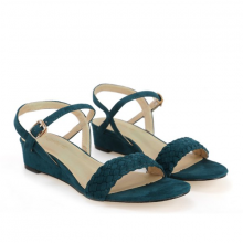 Giày sandals đế xuồng Girlie S40002 màu xanh