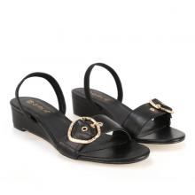 Giày sandals đế xuồng thấp GIRLIE S40001 màu đen