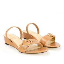 Giày sandals đế xuồng thấp GIRLIE S40001 màu nâu