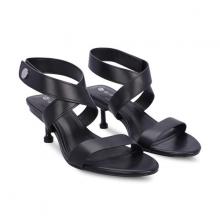 Giày sandals cao gót dây quấn cổ chân Girlie S21022 màu đen