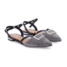 Giày búp bê mũi nhọn đính kim tuyến Girlie S20005 màu bạc