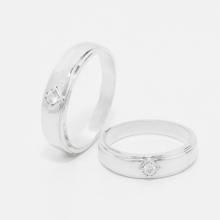 Cặp nhẫn đôi, nhẫn cưới vàng trắng  DOJI cao cấp 14K đính đá Swarovski 1711 - Trắng - Freesize