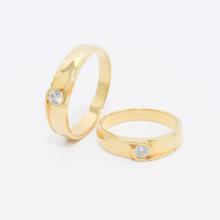 Cặp nhẫn đôi, nhẫn cưới vàng  DOJI cao cấp 14K đính đá Swarovski 1714 - Vàng - Freesize