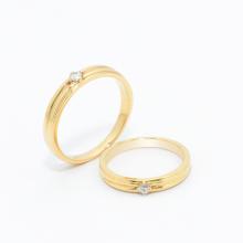 Cặp nhẫn đôi vàng vàng DOJI cao cấp 14K đính đá Swarovski 1661