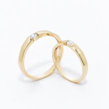 Cặp nhẫn đôi vàng vàng DOJI cao cấp 14K đính đá Swarovski 1666