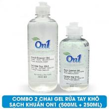 Combo 2 chai Gel rửa tay khô sạch khuẩn On1 (500ml + 250ml) hương Fresh Sakura