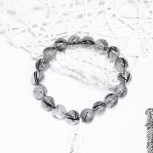 Vòng tay trơn đá thạch anh tóc đen size hạt 11mm kiểu 1 mệnh thủy, mộc - Ngọc Quý Gemstones