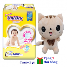 (Tặng 1 thú bông con mèo) combo 2 gói tã dán Unidry size M42 - size L38 - size XL34