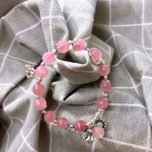 Vòng đá thạch anh hồng brazli phối charm bạc mệnh hỏa. thổ - Ngọc Quý Gemstones