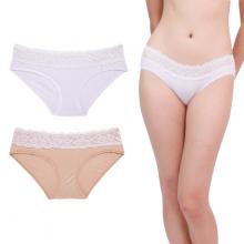 Combo hai quần lót nữ Miley Lingerie Modal lưng ren Sexy Active màu Da và Trắng FDS0974-1274