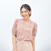 Áo kiểu nữ công sở thời trang Eden dáng suông cổ tròn phối nút hoa nhí - ASM113