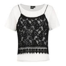 Áo thun ngắn tay vải voan phối áo ren hai dây Gabo Fashion 104589