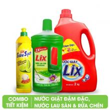 Nước giặt 2Kg, nước lau sàn hương nắng hạ 1 lít, nước rửa chén Lix hương chanh 800g, Lix combo 13
