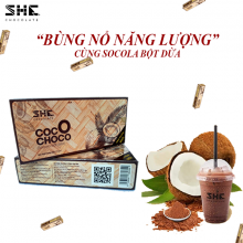 Bột socola dừa SHE Chocolate 210g dược kết hợp giữa bột socola nguyên chất và bột dừa bến tre