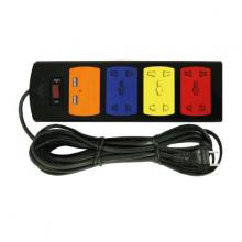 Ổ cắm điện nối dài Robot 3 ổ 5 chấu (có nắp che) và cổng sạc USB