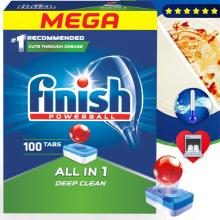 Hộp 100 viên rửa chén Finish All In 1 Dishwasher Tablets QT04592