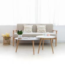 Set 2 bàn sofa gỗ cao Su MOHO VERONA 801 trắng xám