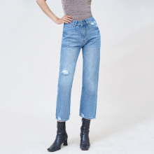Quần jean nữ boyfriend ankle rách spanish blue - Aaa Jeans