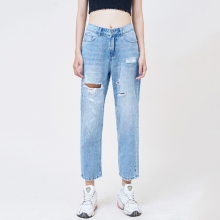 Quần jean nữ boyfriend ankle rách xanh biển - Aaa Jeans