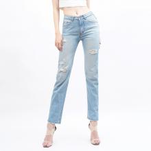 Quần jean nữ rách boyfriend lưng cao xanh vintage - Aaa Jeans