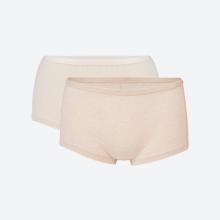 Set 2 chiếc quần lót nữ dáng boxer sợi bông hữu cơ nâu và be  - Mimi Organic