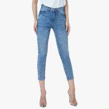 Quần jean nữ selvedge denim lưng cao lửng ankle màu stone blue - Aaa Jeans