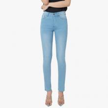 Quần jean nữ ống đứng lưng cao màu biển nhạt - Aaa Jeans