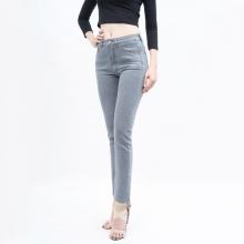 Quần jean nữ ống đứng lưng cao màu xám - Aaa Jeans