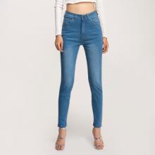 Quần jean nữ skinny dài trơn lưng cao xanh biển - Aaa Jeans
