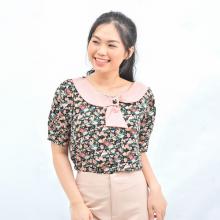 Áo kiểu nữ thời trang Eden họa tiết hoa dáng suông cổ tròn phối nơ - ASM107