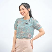 Áo kiểu nữ thời trang Eden dáng suông voan thêu - ASM126