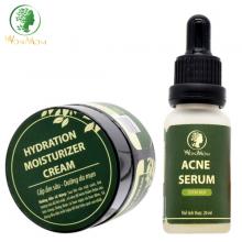 Bộ trị mụn cứng đầu và dưỡng da mụn hiệu quả Wonmom ( 1 serum mụn + 1 kem cấp ẩm )