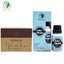 Bộ chăm sóc tình mẫu tử Wonmom ( 1 hộp thảo mộc xông vùng kín cho mẹ + 1 dầu tràm )
