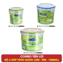 Bộ 3 hộp tròn đựng thực phẩm Duy Tân Matsu dung tích 400 - 900 - 1500ml