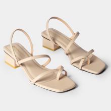 Giày sandal cao gót thời trang Erosska kiểu dáng xỏ ngón phối dây mảnh đế cao 5cm EB024