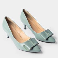 Giày cao gót bít mũi Erosska phối nơ thời trang gót nhọn cao 5cm EP013