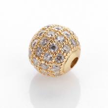 Charm hợp kim vàng đính đá trắng 10mm - Ngọc Quý Gemstones