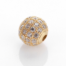 Charm hợp kim vàng đính đá trắng 6mm - Ngọc Quý Gemstones