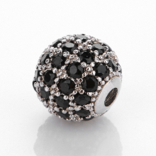 Charm hợp kim trắng đính đá đen 10mm - Ngọc Quý Gemstones