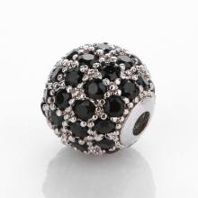 Charm hợp kim trắng đính đá đen 8mm - Ngọc Quý Gemstones