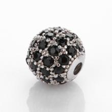 Charm hợp kim trắng đính đá đen 6mm - Ngọc Quý Gemstones