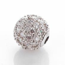 Charm hợp kim trắng đính đá trắng 6mm - Ngọc Quý Gemstones