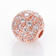 Charm hợp kim màu hồng đính đá trắng 10mm - Ngọc Quý Gemstones