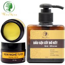 Bộ dưỡng trắng hồng da mặt, giảm rụng tóc Wonmom ( 1 kem nghệ tươi + 1 dầu gội cốt bồ kết )
