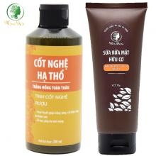 Bộ dưỡng trắng mịn da hữu cơ, sáng hồng da mặt và body Wonmom (1 sữa rửa mặt + 1 cốt nghệ hạ thổ)