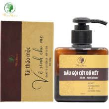 Bộ giảm rụng tóc, khử mùi vùng kín Wonmom (1 dầu gội cốt bồ kết + 1 hộp thảo mộc xông vùng kín)