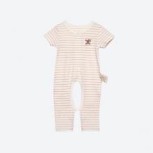 Bộ áo liền quần khoét đũng sợi bông hữu cơ kẻ nâu cho bé - Mimi Organic