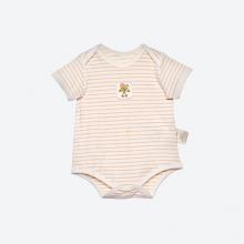 Bộ áo liền quần dáng đùi sợi bông hữu cơ kẻ nâu cho bé - Mimi Organic
